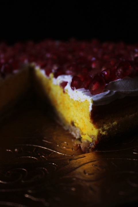 Saffron Cheesecake with Pistachios and Pomegranate