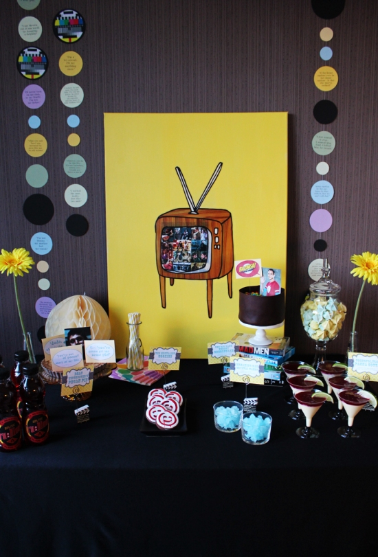 TV themed dessert table from thechocolatebox.se
