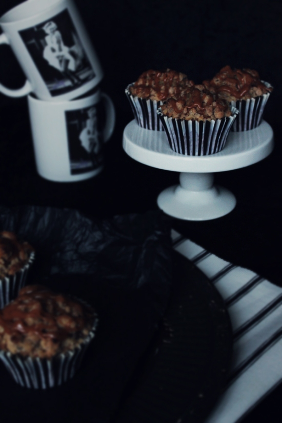 Chocolate Chip Banana Muffins with Crumble and Salted Caramel