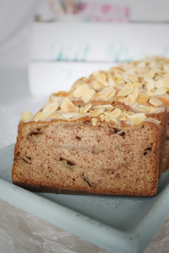 Cinnamon Pear Loaf Cake with Honey Butter and Roasted Almonds