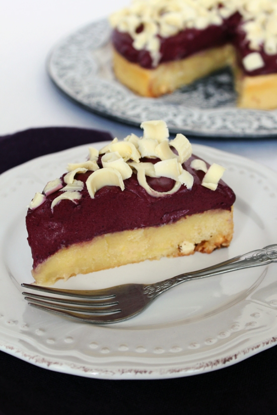 White Chocolate Lemon Gooey Cake with Blueberry Mousse