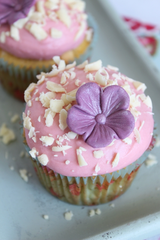 Peach White Chocolate Cupcakes with Raspberry Frosting