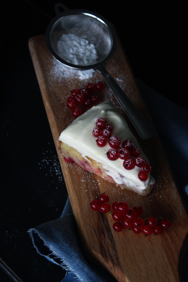 Gooey White Chocolate Red Currant Cake  with Lemon Mousse